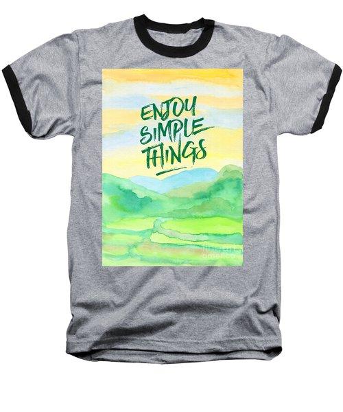 Enjoy Simple Things Rice Paddies Watercolor Painting Baseball T-Shirt
