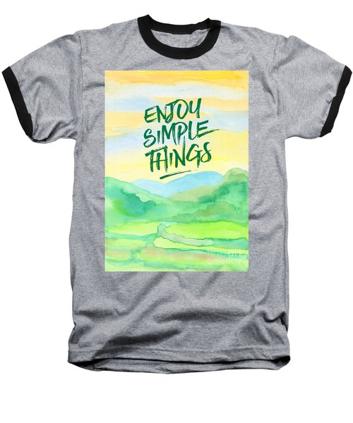 Enjoy Simple Things Rice Paddies Watercolor Painting Baseball T-Shirt