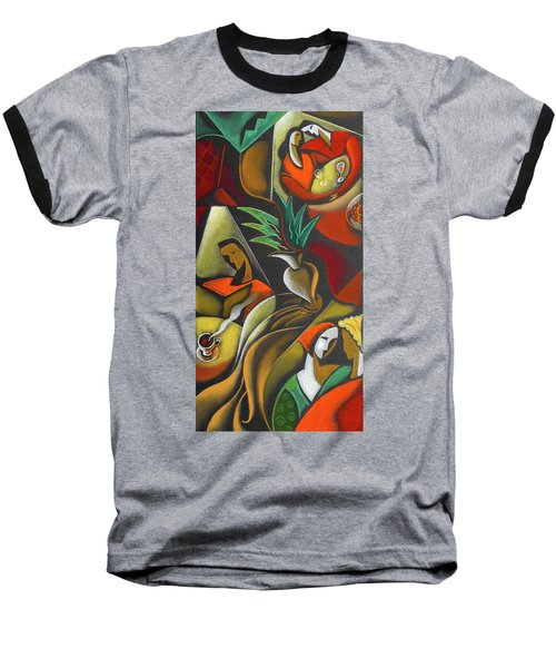 Baseball T-Shirt featuring the painting Enjoying Food And Drink by Leon Zernitsky