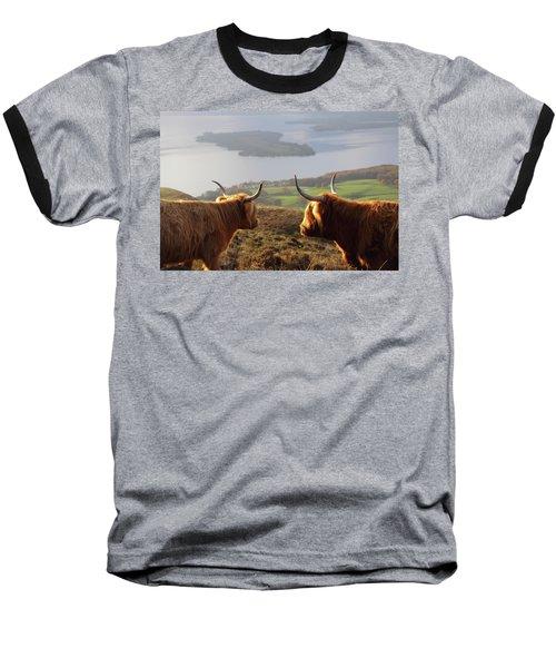 Enjoying The View - Highland Cattle Baseball T-Shirt