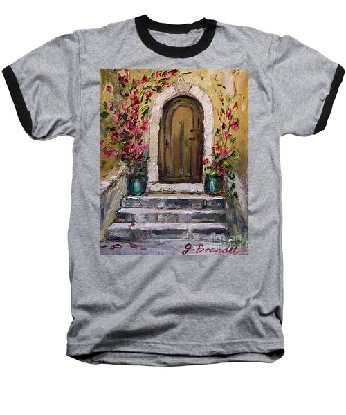 Baseball T-Shirt featuring the painting Enter Here by Jennifer Beaudet