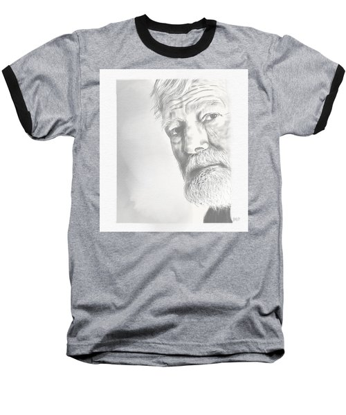 Baseball T-Shirt featuring the drawing Ernest Hemingway by Antonio Romero