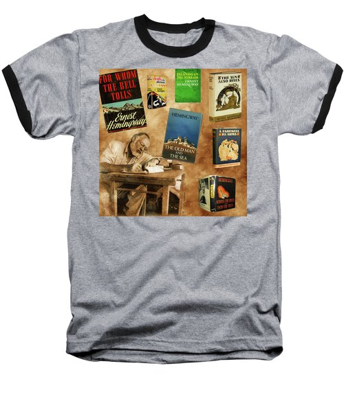 Ernest Hemingway Books 2 Baseball T-Shirt by Andrew Fare