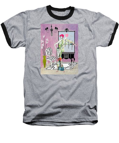 Erte'-esque -- Art Deco Interior W/ Fashion Figure Baseball T-Shirt