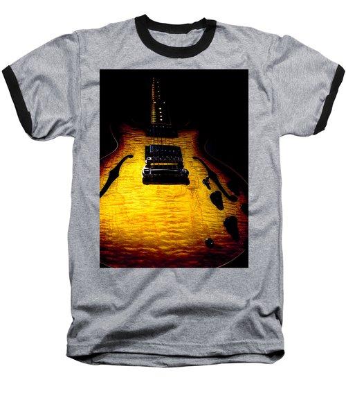 Baseball T-Shirt featuring the digital art Es-335 Dots Flame Burst Spotlight Series by Guitar Wacky