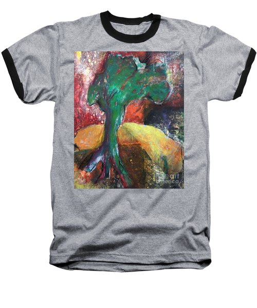 Baseball T-Shirt featuring the painting Escaped The Blaze by Elizabeth Fontaine-Barr
