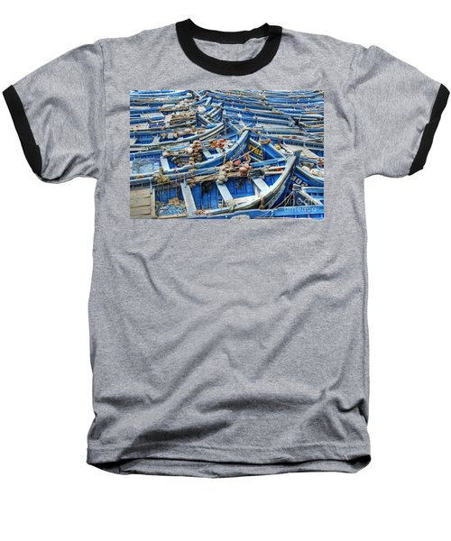 Essaouira Blue Fishing Boats Baseball T-Shirt