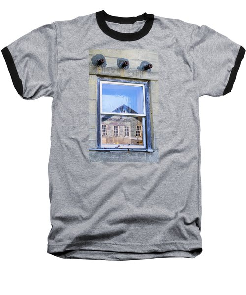 Baseball T-Shirt featuring the photograph Estey Window Reflection by Tom Singleton