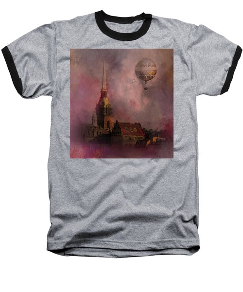 Baseball T-Shirt featuring the digital art Stockholm Church With Flying Balloon by Jeff Burgess