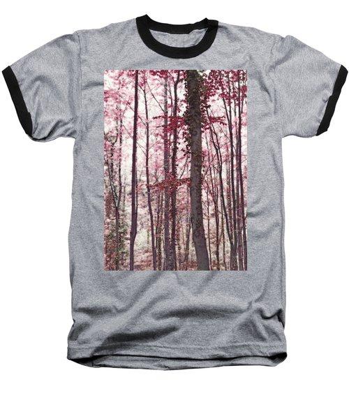 Ethereal Austrian Forest In Marsala Burgundy Wine Baseball T-Shirt by Brooke T Ryan