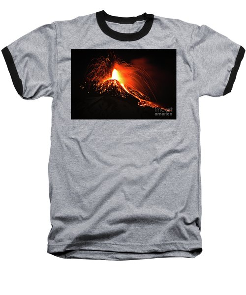 Baseball T-Shirt featuring the pyrography Etna by Bruno Spagnolo