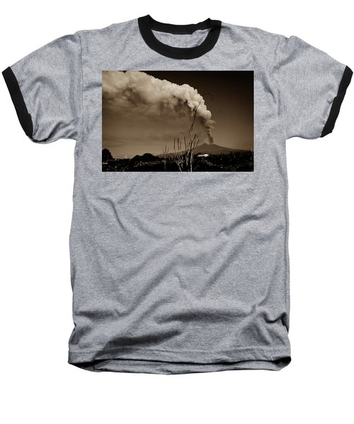 Etna, The Volcano Baseball T-Shirt