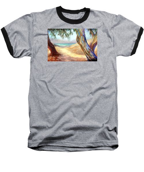 Baseball T-Shirt featuring the painting Eucalyptus Beach Trail by Michael Rock