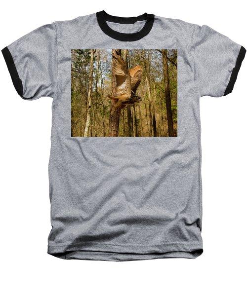 Eurasian Eagle Owl In Flight Baseball T-Shirt
