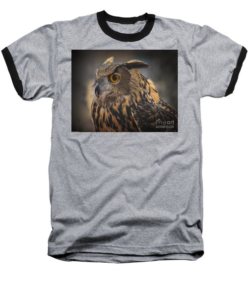 Baseball T-Shirt featuring the photograph Eurasian Eagle Owl Portrait 2 by Mitch Shindelbower
