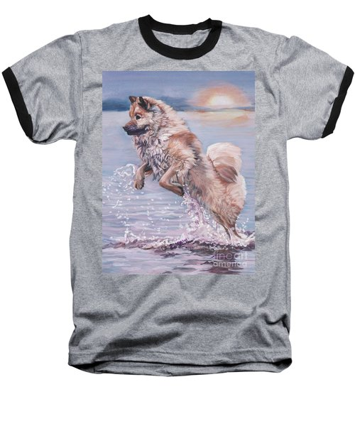 Baseball T-Shirt featuring the painting Eurasier In The Sea by Lee Ann Shepard