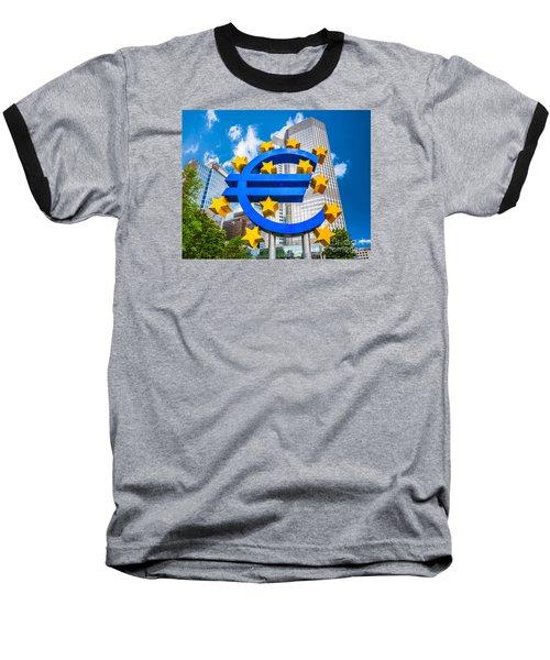 Euro Sign At European Central Bank In Frankfurt, Germany Baseball T-Shirt by JR Photography