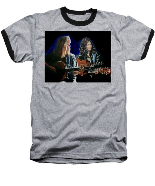 Baseball T-Shirt featuring the painting Eva Cassidy And Katie Melua by Bryan Bustard