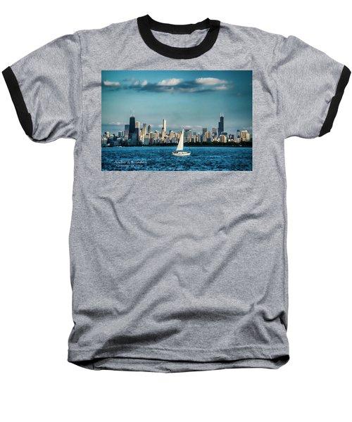 Evan's Chicago Skyline  Baseball T-Shirt
