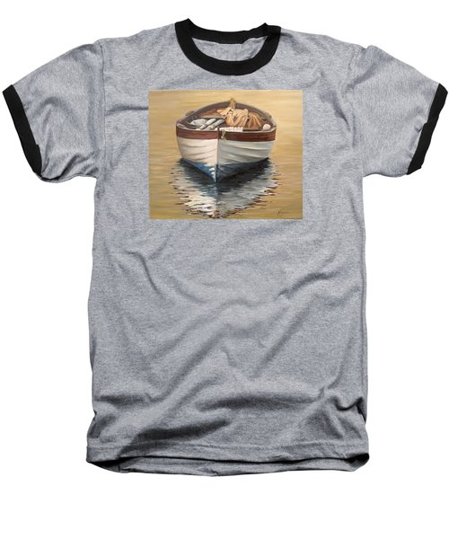 Baseball T-Shirt featuring the painting Evening Boat by Natalia Tejera