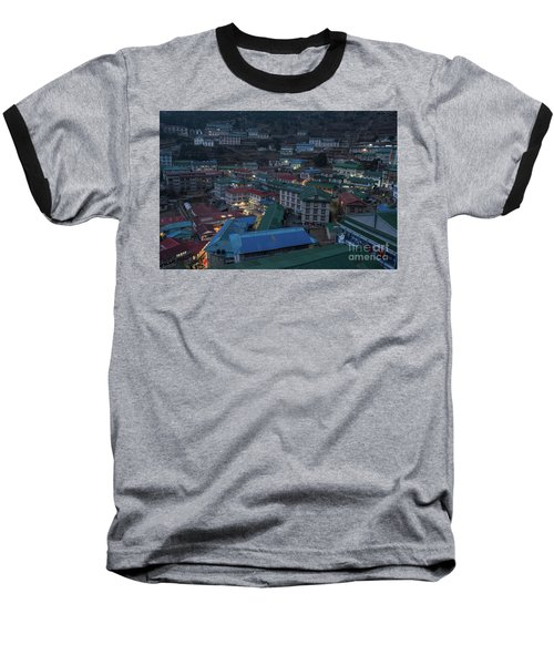 Baseball T-Shirt featuring the photograph Evening In Namche Nepal by Mike Reid