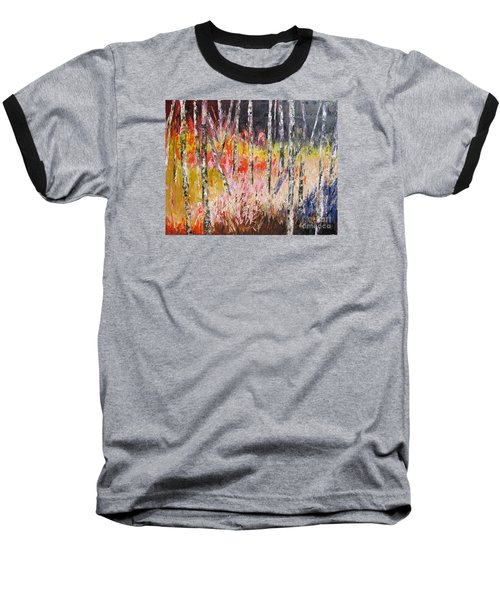 Evening In The Woods Pallet Knife Painting Baseball T-Shirt by Lisa Boyd