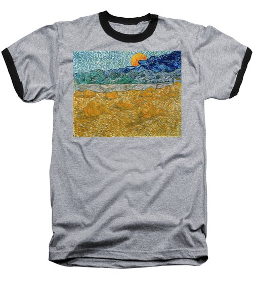 Baseball T-Shirt featuring the painting Evening Landscape With Rising Moon by Van Gogh