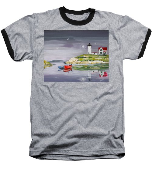 Baseball T-Shirt featuring the painting Evening Lighthouse by Phyllis Kaltenbach