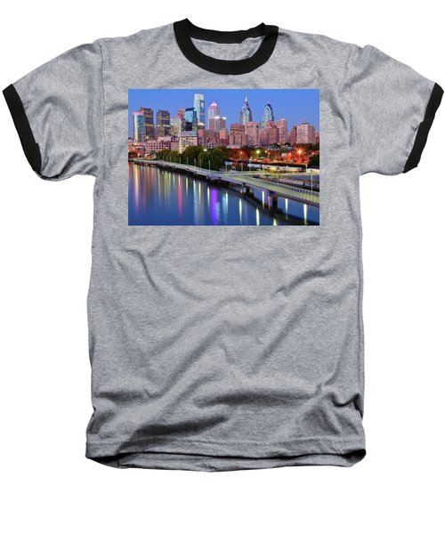 Baseball T-Shirt featuring the photograph Evening Lights On The Delaware by Frozen in Time Fine Art Photography