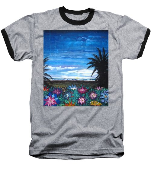Baseball T-Shirt featuring the painting Tropical Evening by Mary Ellen Frazee