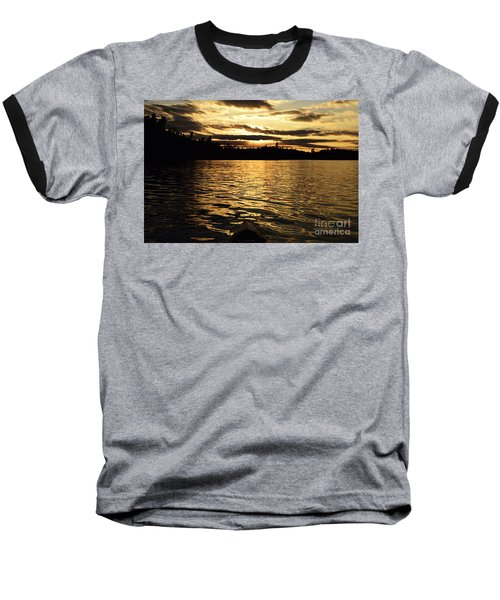 Baseball T-Shirt featuring the photograph Evening Paddle On Amoeber Lake by Larry Ricker