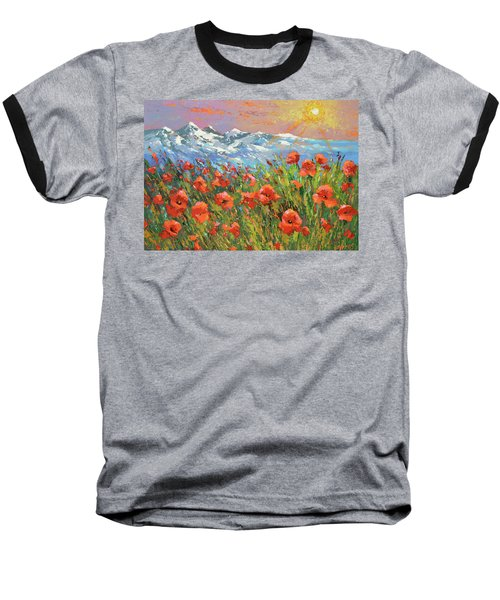 Baseball T-Shirt featuring the painting Evening Poppies  by Dmitry Spiros