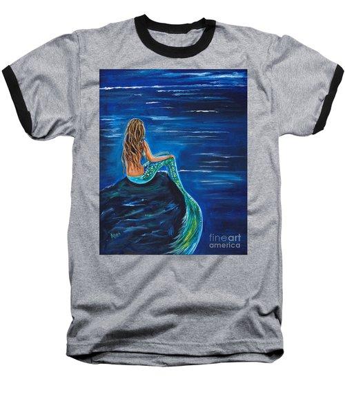 Evening Tide Mermaid Baseball T-Shirt by Leslie Allen