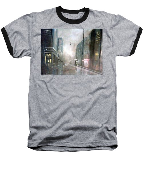 Baseball T-Shirt featuring the painting Evening Walk In The Rain by Raymond Doward