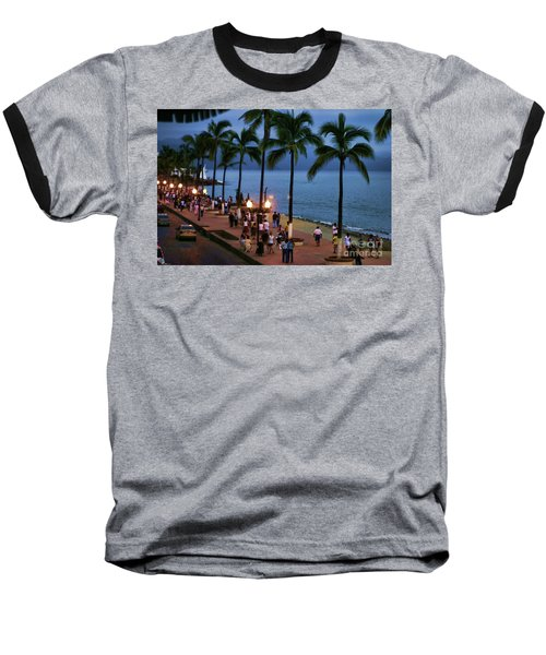 Evenings On The Malecon Baseball T-Shirt by Chuck Kuhn
