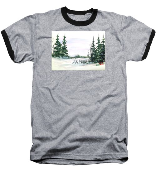 Evergreens In Snow Baseball T-Shirt