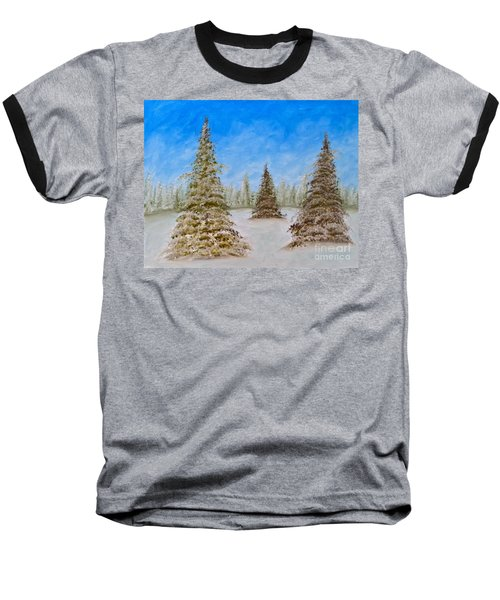 Evergreens In Snowy Field Enhanced Colors Baseball T-Shirt