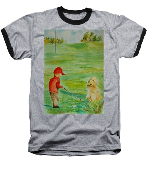 Baseball T-Shirt featuring the painting Everything Waits While I Golf Art by Geeta Biswas