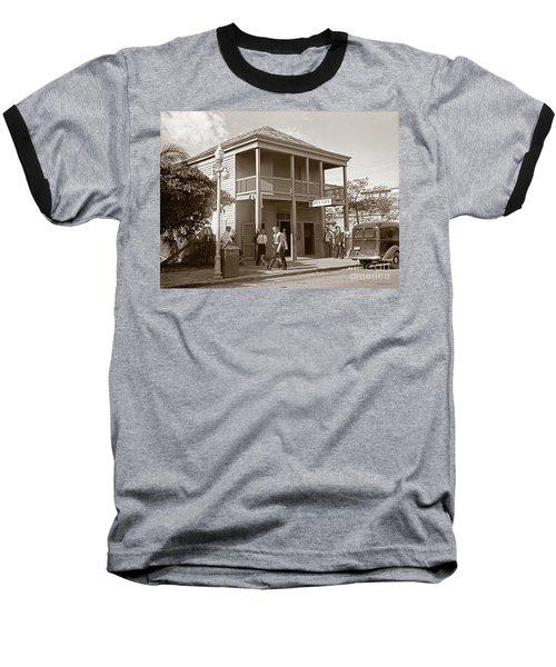 Everyone Says Hi - From Pepes Cafe Key West Florida Baseball T-Shirt by John Stephens