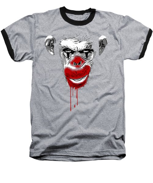 Evil Monkey Clown Baseball T-Shirt by Nicklas Gustafsson
