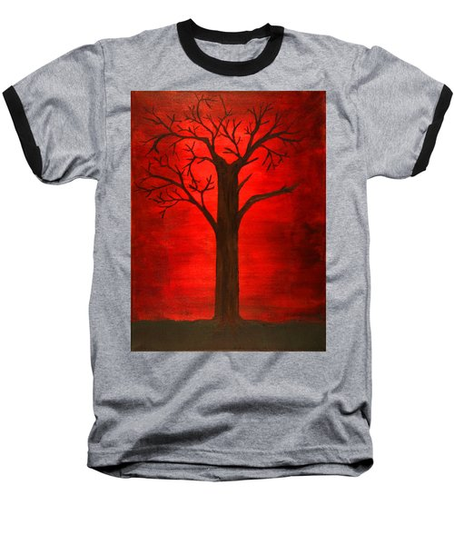 Evil Tree Baseball T-Shirt by David Stasiak