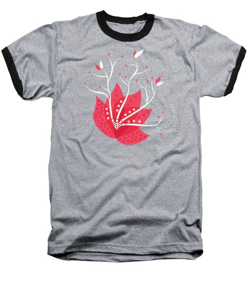Exotic Pink Flower And Dots Baseball T-Shirt