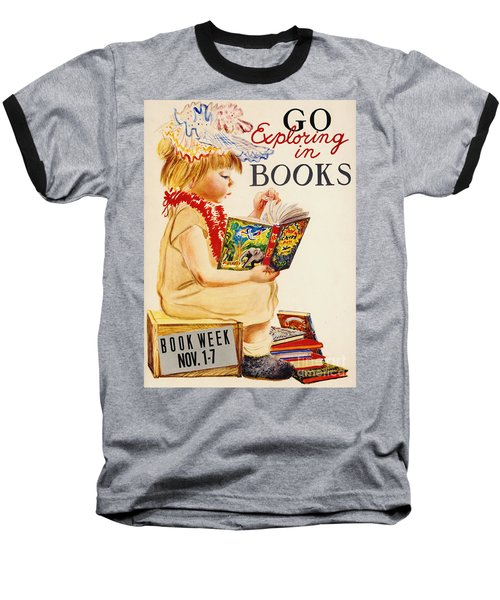 Baseball T-Shirt featuring the photograph Exploring Books 1961 by Padre Art