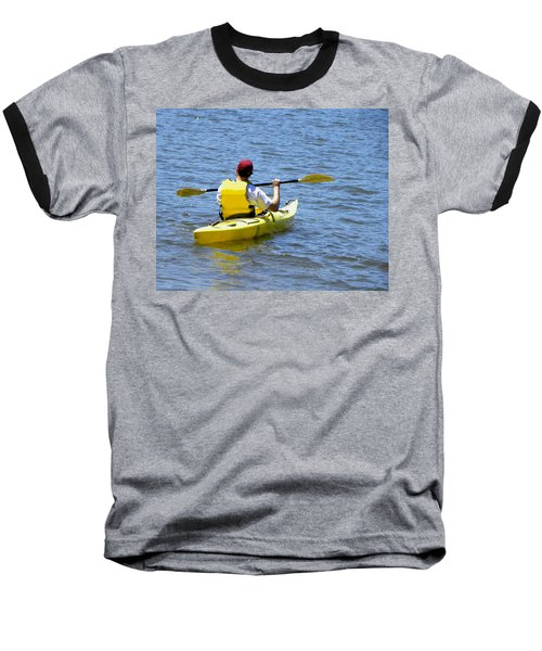 Baseball T-Shirt featuring the photograph Exploring In A Kayak by Sandi OReilly