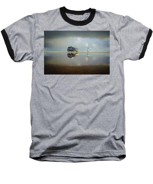 Exploring The Beach On A Rainy Day Baseball T-Shirt