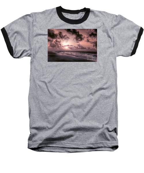 Explosive Sunrise On Ocracoke Outer Banks Baseball T-Shirt by Dan Carmichael