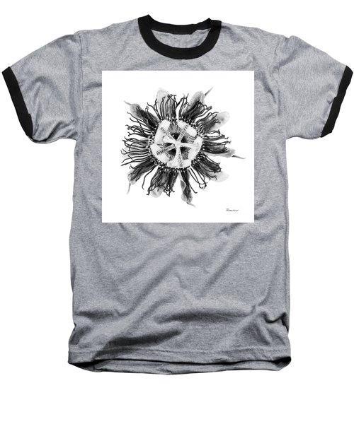 Expressive Passion Flower In Grayscale 50674g Baseball T-Shirt