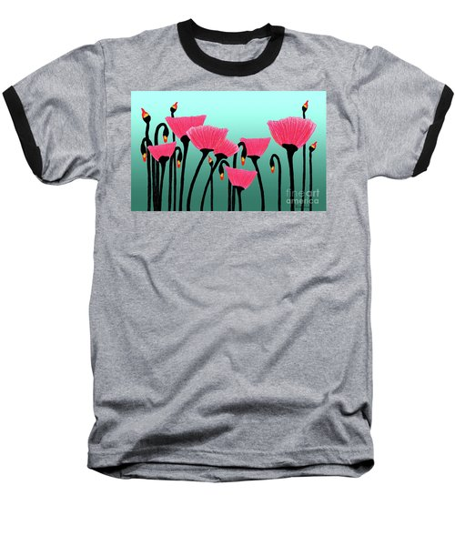 Expressive Red Pink Green Poppy Painting Y1a Baseball T-Shirt