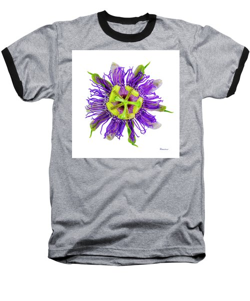 Expressive Yellow Green And Violet Passion Flower 50674a Baseball T-Shirt