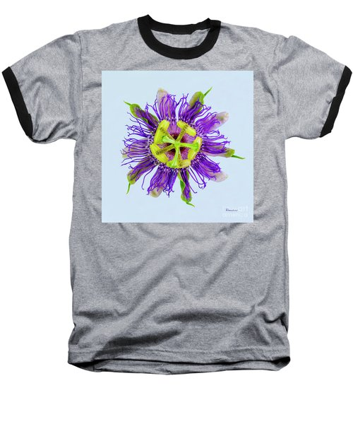 Expressive Yellow Green And Violet Passion Flower 50674b Baseball T-Shirt